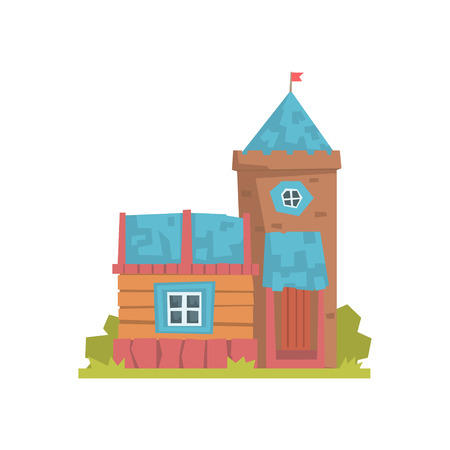 Old wooden house and stone tower, ancient architecture building vector Illustration Ilustração
