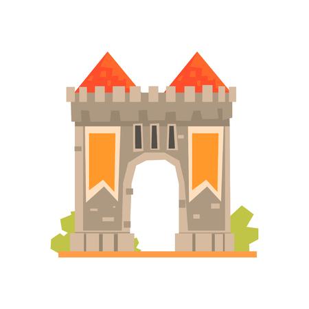中世の門と 2 つの監視塔、古代建築の建物のベクトル図