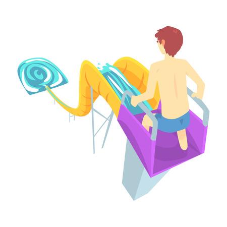 Young man riding down a water slide at the aquapark in summer vacation cartoon vector Illustration