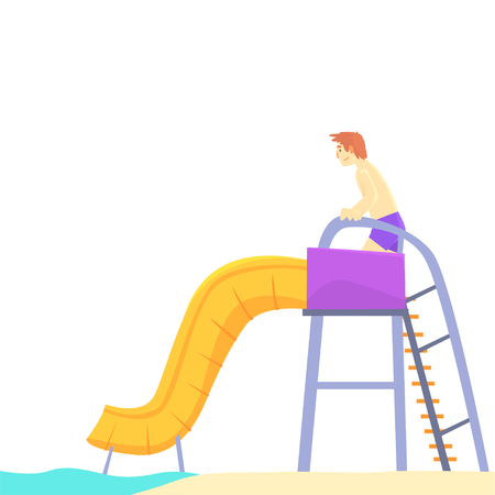 Young man having fun on a water slide in a water park in summer vacation cartoon vector Illustration Stock Vector - 84286796