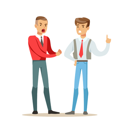 Two young men fighting angry and shouting at each other, negative emotions concept vector Illustration Stock Vector - 84428302