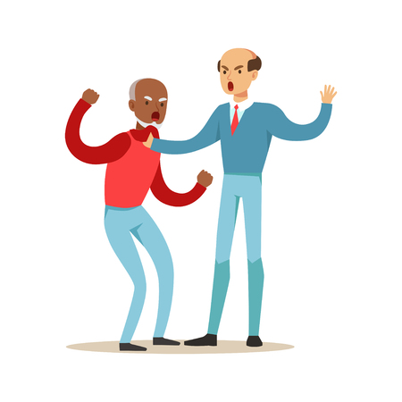 Two mature men characters fighting and quarelling, negative emotions concept vector Illustration Illustration