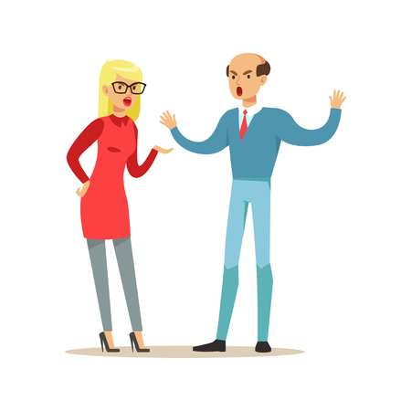 Bald man and blonde woman characters arguing and yelling on each other, negative emotions concept vector Illustration
