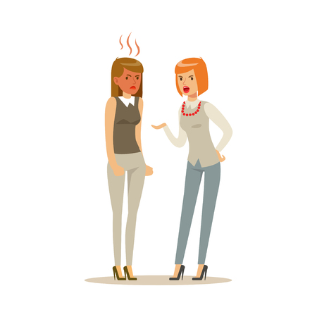 Two young businesswomen characters arguing and yelling on each other, negative emotions concept vector Illustration