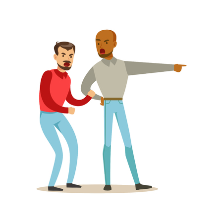 Two annoyed men characters arguing and yelling on each other, negative emotions concept vector Illustration