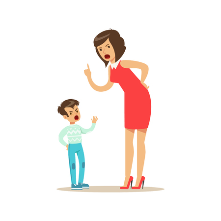 Mother yelling at her son, negative emotions concept vector Illustration