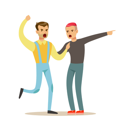 Two young men characters fighting and quarelling, negative emotions concept vector Illustration Stock Vector - 84428339