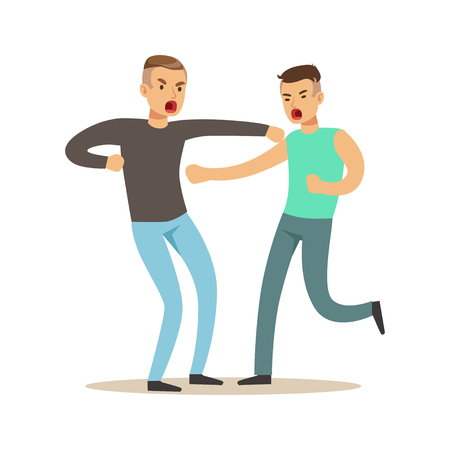 Two furious men characters fighting and quarelling, negative emotions concept vector Illustration Illustration