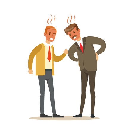 Two businessmen characters fighting angry and shouting at each other, negative emotions concept vector Illustration