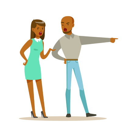 Husband and wife characters arguing and yelling on each other, negative emotions concept vector Illustration