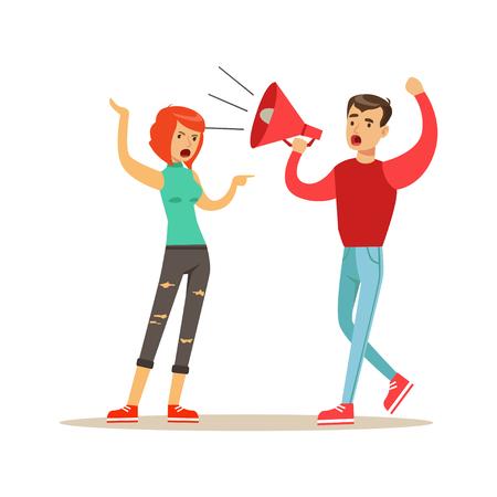 Jonge mannenkarakters die aan een vrouw door een megafoon, de negatieve vectorillustratie van het emotiesconcept schreeuwen