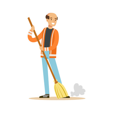 Smiling mature street sweeper at work, street cleaner character vector Illustration Banco de Imagens - 84428345