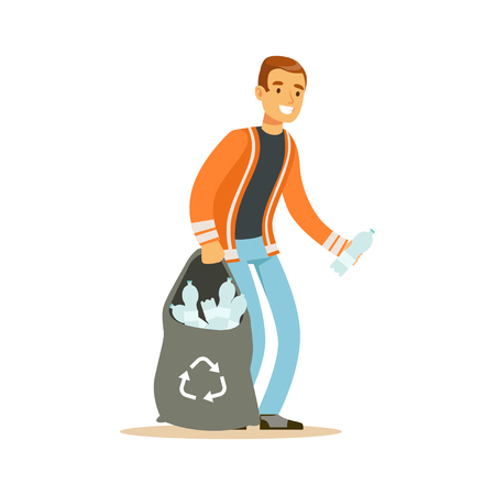 Smiling man gathering garbage and plastic bottles, waste recycling and utilization concept vector Illustration