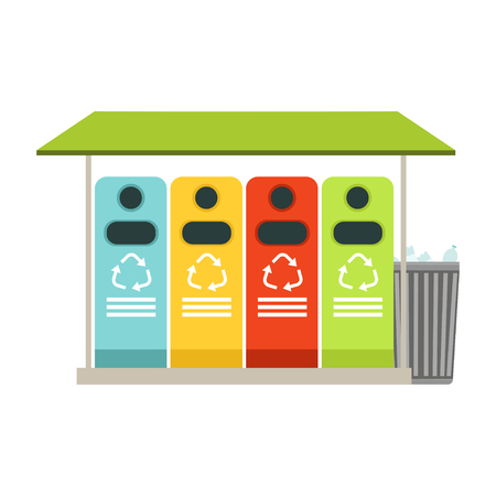 Trash recycling containers, rubbish bins row, waste recycling and utilization concept vector Illustration