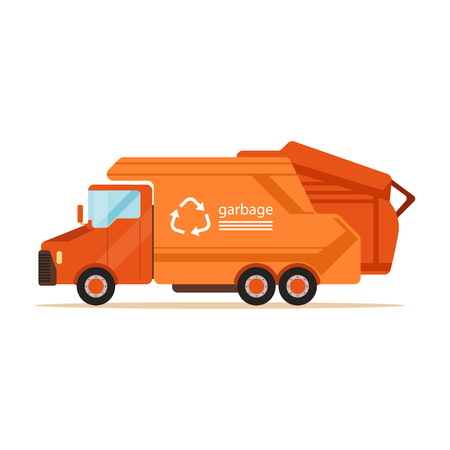 Orange garbage collector truck, waste recycling and utilization concept vector Illustration