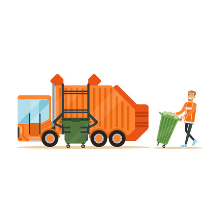 Garbage truck driver loading recycle bin into garbage collector truck, waste recycling and utilization concept vector Illustration
