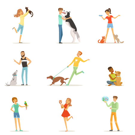 ペットとの楽しい幸せな人々、男性と女性のトレーニングや、自分のペットで遊んでベクトル イラスト