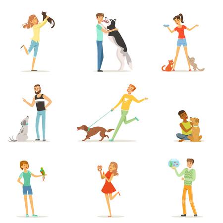 Gelukkige mensen met plezier met huisdieren, man en vrouw training en spelen met hun huisdieren vector illustraties