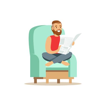 Jonge gebaarde mensenzitting op een lichtblauwe leunstoel en lezing een krant, man die thuis vectorillustratie rusten Stock Illustratie