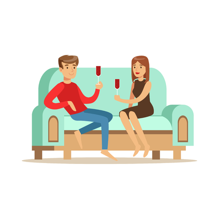 Young couple in love sitting on a light blue sofa and drinking wine, people resting at home vector Illustration Ilustração