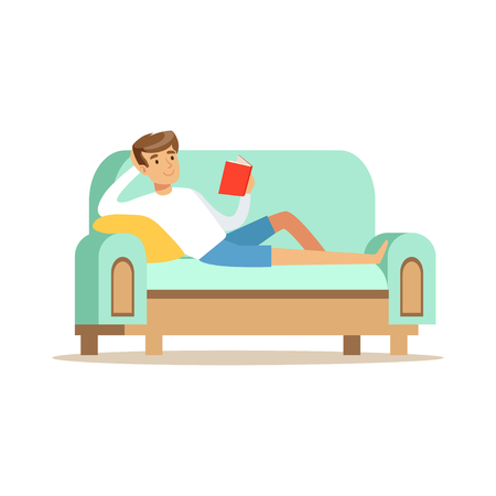 Young man lying on a light blue sofa and reading a book, man resting at home vector Illustration Ilustracja