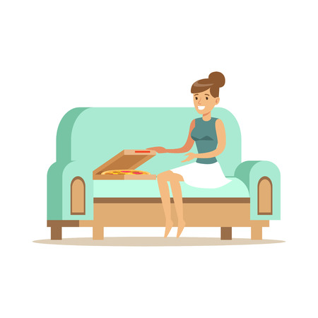 Beautiful girl sitting on a light blue sofa and eating pizza, woman resting at home vector Illustration