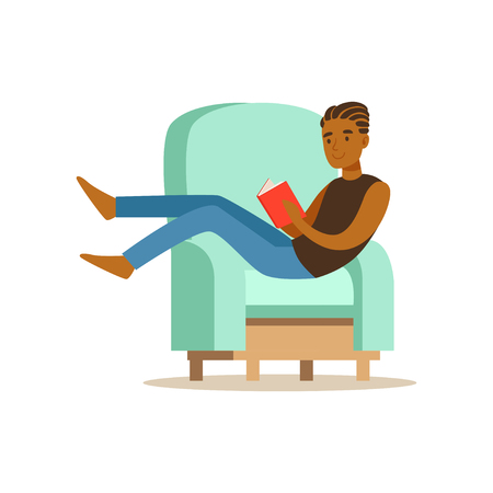 Guy sitting on a light blue armchair and reading a book, man resting at home vector Illustration Illustration