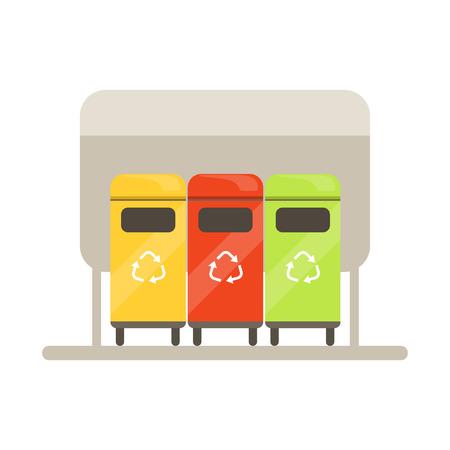 カラフルなゴミ容器、ゴミ箱行、廃棄物リサイクル、使用率概念ベクトル図のリサイクル  イラスト・ベクター素材