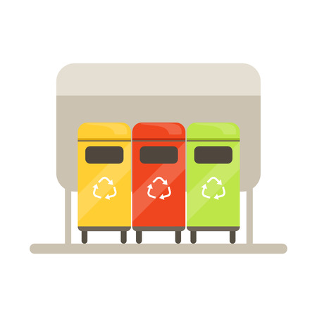 Colorful trash recycling containers, rubbish bins row, waste recycling and utilization concept vector Illustration