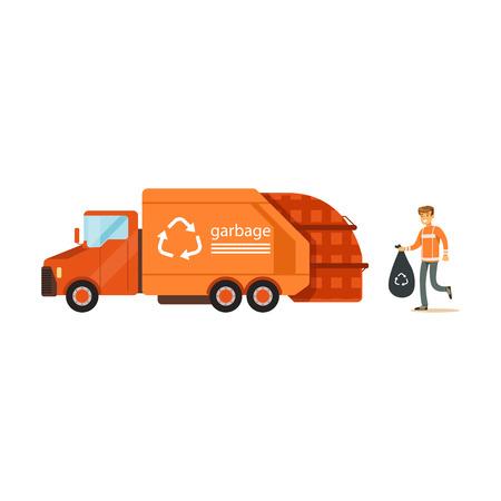 Pracownika ładownicza banialuki torba w śmieciarska poborcy ciężarówkę, jałowego przetwarza pojęcie wektoru ilustrację i przetwarza