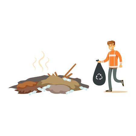 Straßenreiniger Mann in einer orangefarbenen Uniform hält schwarze Tasche mit Müll, Abfall-Recycling und Nutzung Konzept Vektor-Illustration Standard-Bild - 84428382