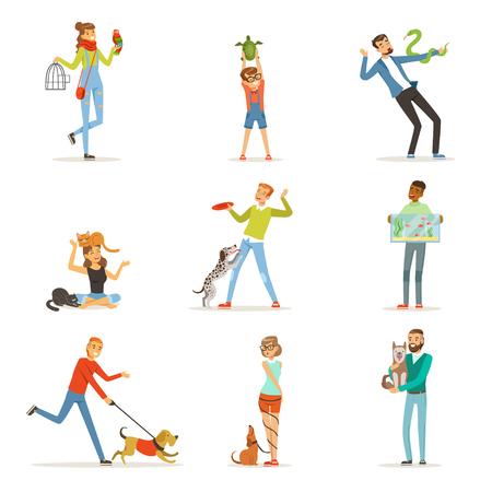 Gelukkige mensen met plezier met huisdieren, man, vrouw en kinderen trainen en spelen met hun huisdieren vector illustraties Stock Illustratie