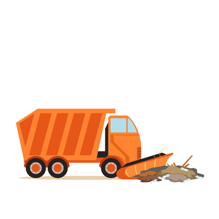 Orange truck plowing garbage, waste recycling and utilization concept vector Illustration