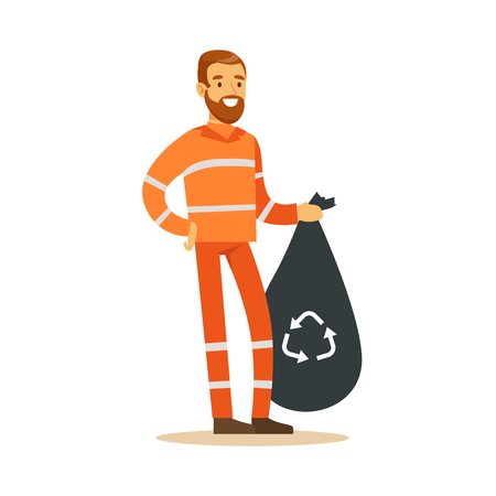 Street cleaner man in a orange uniform holding black bag with garbage, waste recycling and utilization concept vector Illustration