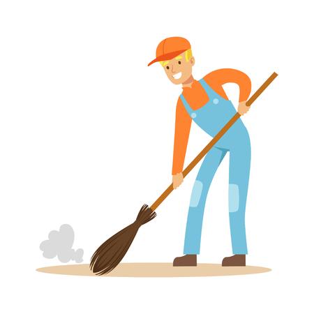 Glimlachende straatveger op het werk, vectorillustratie van het straat de schonere karakter