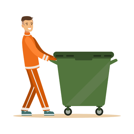 Street cleaner man in a orange uniform taking out a container with garbage, waste recycling and utilization concept vector Illustration Ilustração