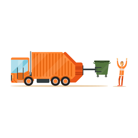 Worker in orange uniform loading recycle bin into garbage collector truck, waste recycling and utilization concept vector Illustration