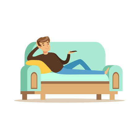 Young man lying on a sofa and watching TV, male resting at home vector Illustration