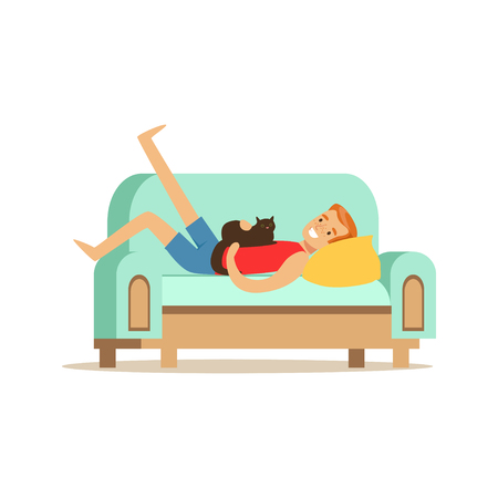 Young man lying on a light blue sofa with his cat, man resting at home vector Illustration