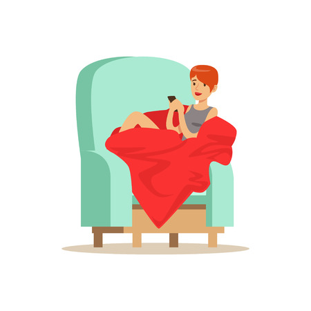 Beautiful girl sitting on a light blue armchair wrapped in a red blanket, woman resting at home vector Illustration Illustration