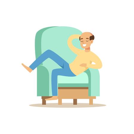 Bald smiling man sitting on a ligh blue sofa and resting vector Illustration