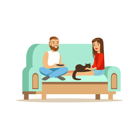 Young man and woman sitting on a light blue sofa and resting at home vector Illustration