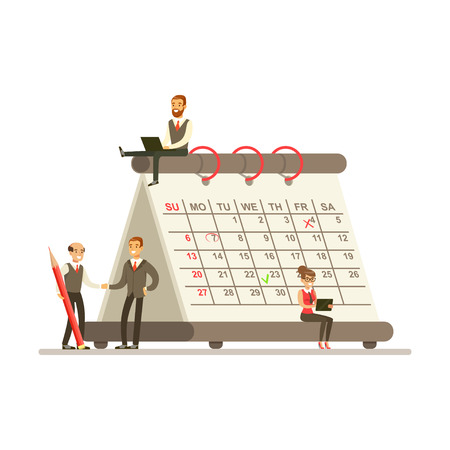 Micro young busineswomen and businesmen sitting on a giant paper calendar, business team working together planning and scheduling their operations vector Illustration