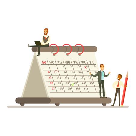 Junge junge Businesmen, die nahe bei einem riesigen Papierkalender wotking, das Geschäftsteam, das zusammenarbeitet, planend und ihre Operationen einplanend, vector Illustration