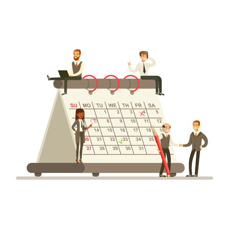 Micro busineswomen and businesmen sitting on a giant paper calendar, business team working together planning and scheduling their operations vector Illustration