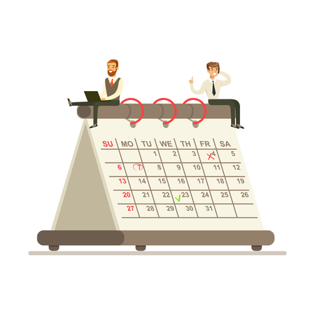 Micro businesmen sentado en un calendario de papel gigante, equipo de negocios trabajando juntos planificación y programación de sus operaciones vector