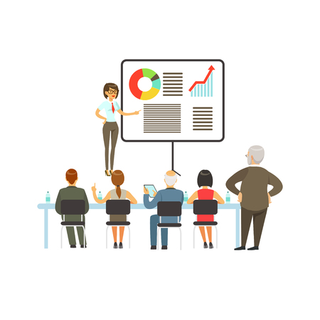 Businesswoman making presentation and explaining chart on a whiteboard, business meeting in an office vector Illustration