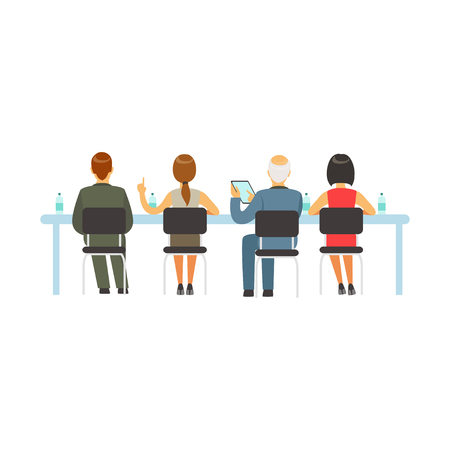 woman laptop: Business people attending and listening at conference, seminar, lecture or training vector Illustration Illustration