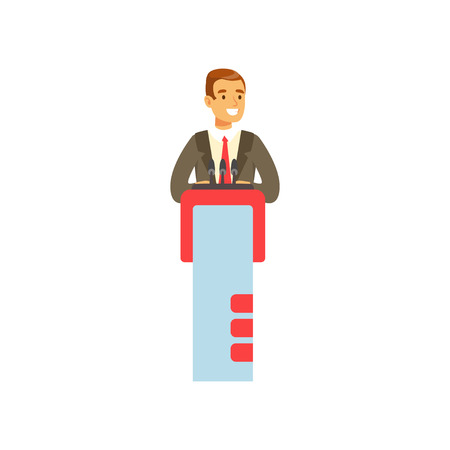 Young businessman speaking behind the podium, public speaker character vector Illustration
