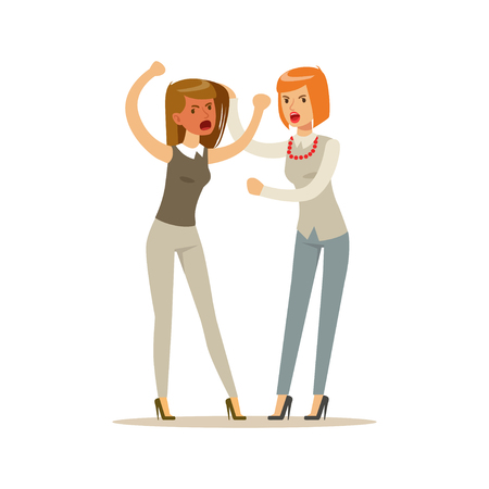 Two young businesswomen characters fighting and quarelling, negative emotions concept vector Illustration